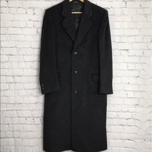 MARK ALEXANDER Mens Cashmere Wool Charcoal Trench